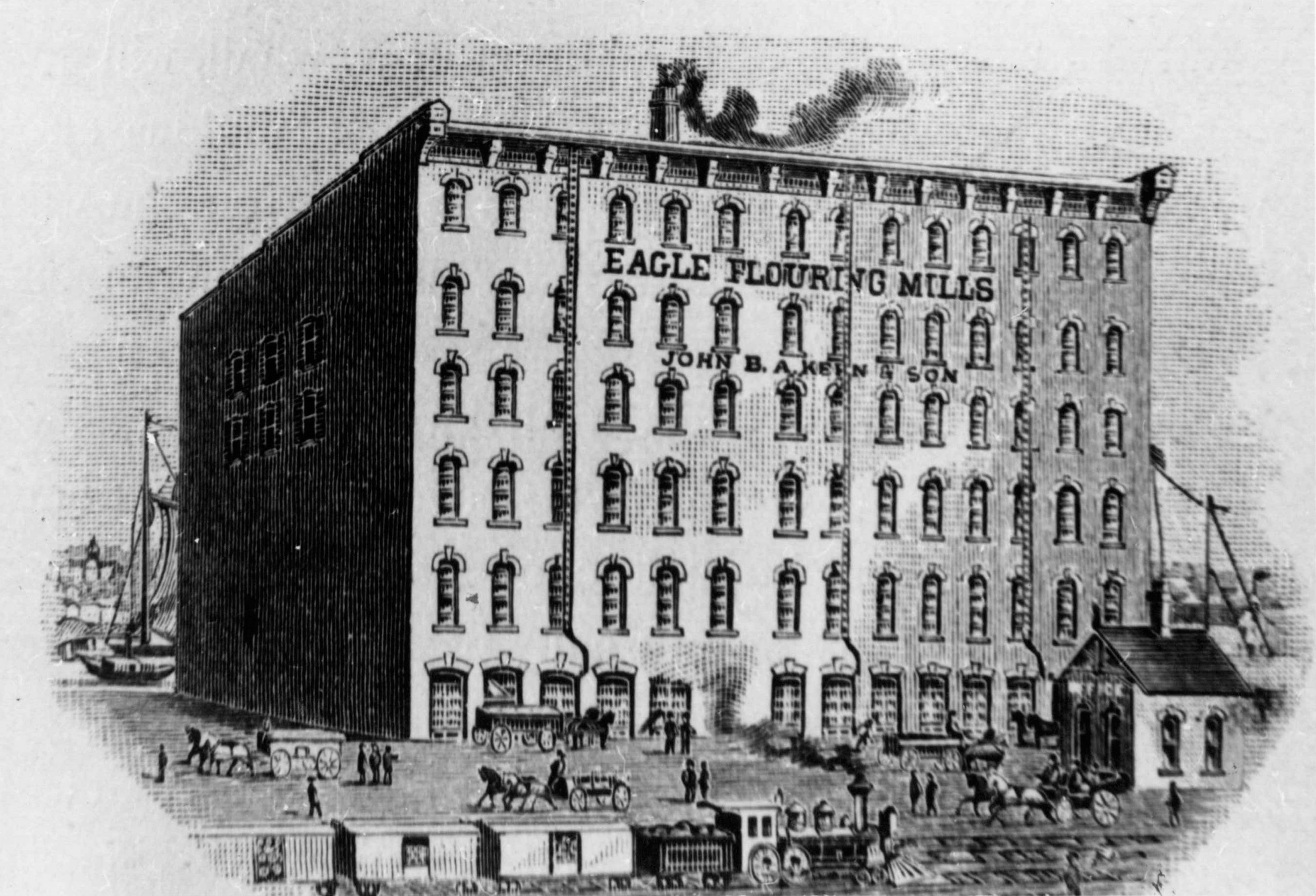 Artist's sketch of an Eagle Flouring Mills building. Opened in in 1844 by John Anderson, it came under the management of John B.A. Kern in 1866 and was one of the largest mills in the area.