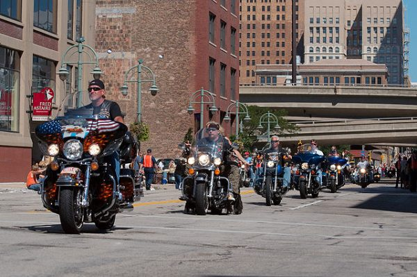 Bikers parade through Milwaukee as part of Harley-Davidson's 105th anniversary celebration in 2008.