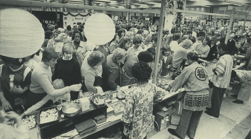 <table class=&quot;lightbox&quot;><tr><td colspan=2 class=&quot;lightbox-title&quot;>Food at the Folk Fair</td></tr><tr><td colspan=2 class=&quot;lightbox-caption&quot;>People stand in line to try ethnic foods at the Holiday Folk Fair, served by people in traditional dress, in 1982.</td></tr><tr><td colspan=2 class=&quot;lightbox-spacer&quot;></td></tr><tr class=&quot;lightbox-detail&quot;><td class=&quot;cell-title&quot;>Source: </td><td class=&quot;cell-value&quot;>From the Historic Photo Collection of the Milwaukee Public Library. Reprinted with permission. <br /><a href=&quot;http://content.mpl.org/cdm/singleitem/collection/HstoricPho/id/5512/rec/7&quot; target=&quot;_blank&quot;>Milwaukee Public Library</a></td></tr><tr class=&quot;filler-row&quot;><td colspan=2>&nbsp;</td></tr></table>