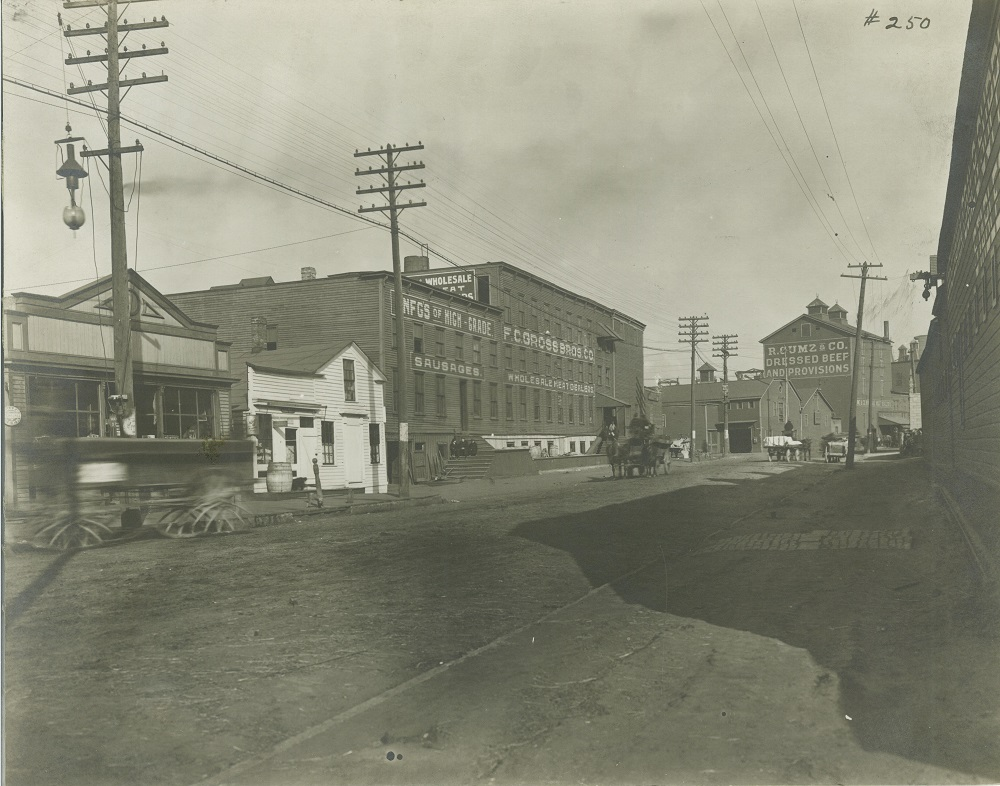 1909 photograph of the R. Gumz & Company and the F.C. Gross Brothers Company meatpacking facilities located on the old intersection of N. Muskego Avenue and Canal Street.