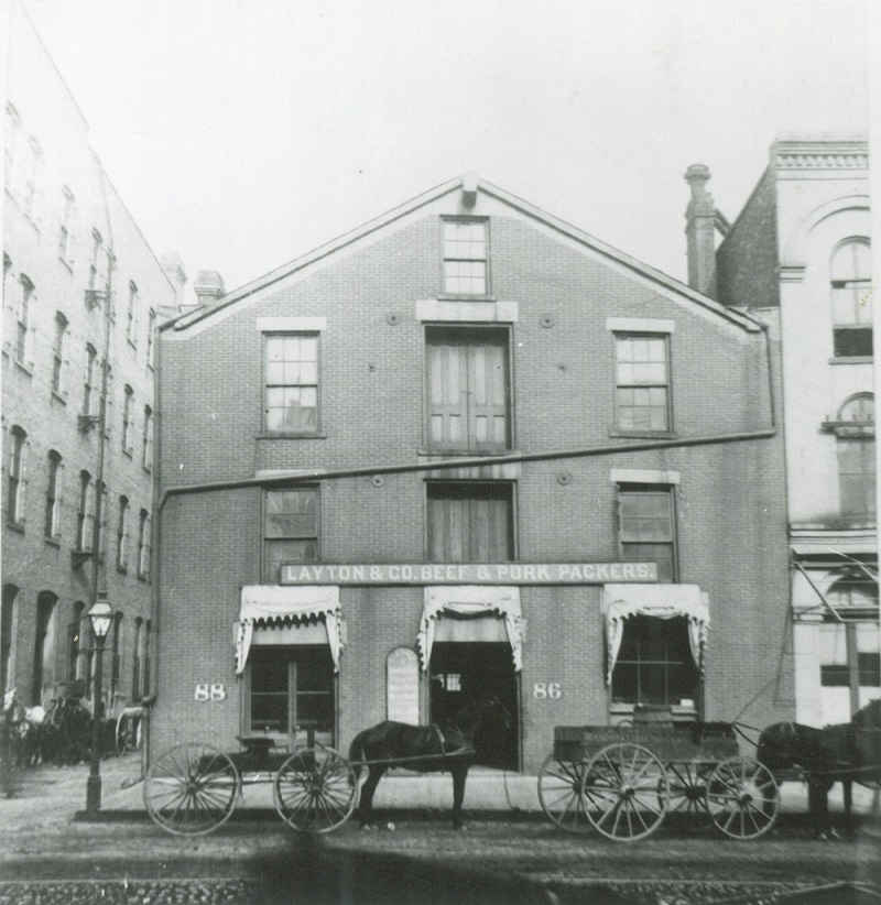 <table class=&quot;lightbox&quot;><tr><td colspan=2 class=&quot;lightbox-title&quot;>Layton &amp; Company Store</td></tr><tr><td colspan=2 class=&quot;lightbox-caption&quot;>Photograph of a storefront for Layton &amp; Co. Beef and Pork Packers on Water Street in 1888. Founded in 1863 by Frederick Layton, it was one of Milwaukee's most prominent meatpacking companies.</td></tr><tr><td colspan=2 class=&quot;lightbox-spacer&quot;></td></tr><tr class=&quot;lightbox-detail&quot;><td class=&quot;cell-title&quot;>Source: </td><td class=&quot;cell-value&quot;>From the Historic Photo Library of the Milwaukee Public Library. Reprinted with permission. <br /><a href=&quot;http://content.mpl.org/cdm/singleitem/collection/HstoricPho/id/4105/rec/3&quot; target=&quot;_blank&quot;>Milwaukee Public Library</a></td></tr><tr class=&quot;filler-row&quot;><td colspan=2>&nbsp;</td></tr></table>