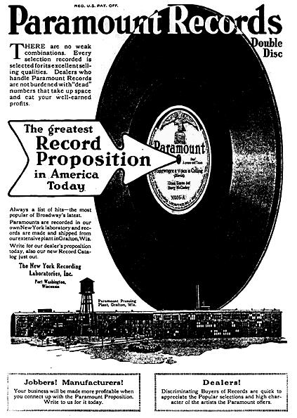 "This advertisement for Paramount Records was featured in the November 1919 issue of the monthly magazine ""Talking Machine World."""