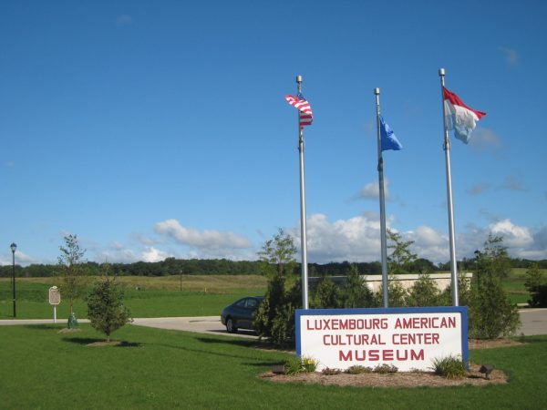 Entrance sign to the Luxembourg American Cultural Center located in the town of Belgium.