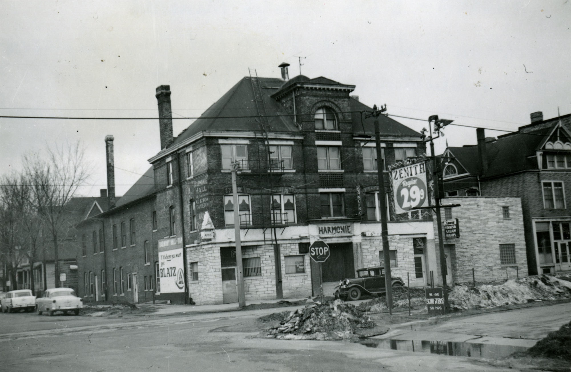This photograph showcases Harmonie Hall, a social gathering space for Milwaukee's Slovenian community. The building was built in 1894 and razed in 1962.