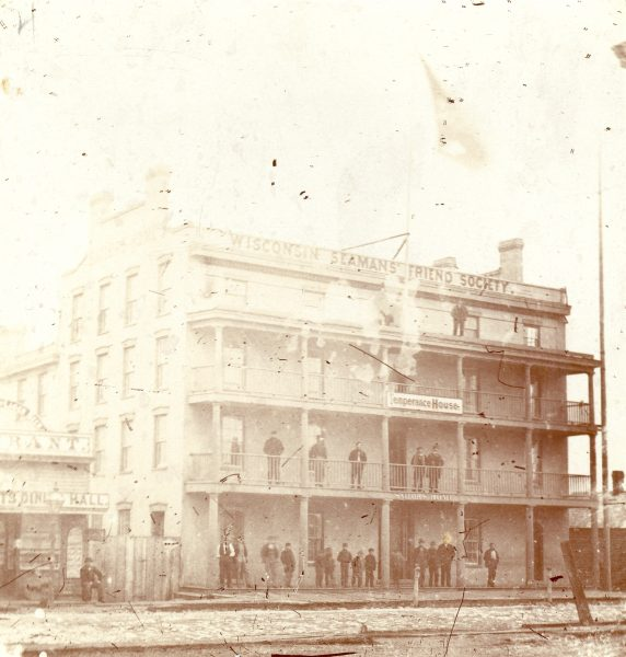 Established in the late 1860s, the Wisconsin Seaman's Friend Society aimed to provide sailors with affordable lodgings away from the influences of gambling, drinking, and prostitution. This Temperance House stood on Erie Street.