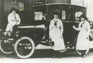 Visiting Nurse Association of Milwaukee founder Sarah Boyd (left) is shown with two nurses in this 1922 photograph.