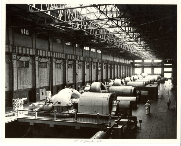 The Lakeside Power Plant's turbine room is shown in this 1983 photograph.
