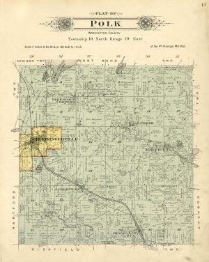 This 1915 plat map of the Town of Polk highlights how waterways and railroads shaped its settlement and development.
