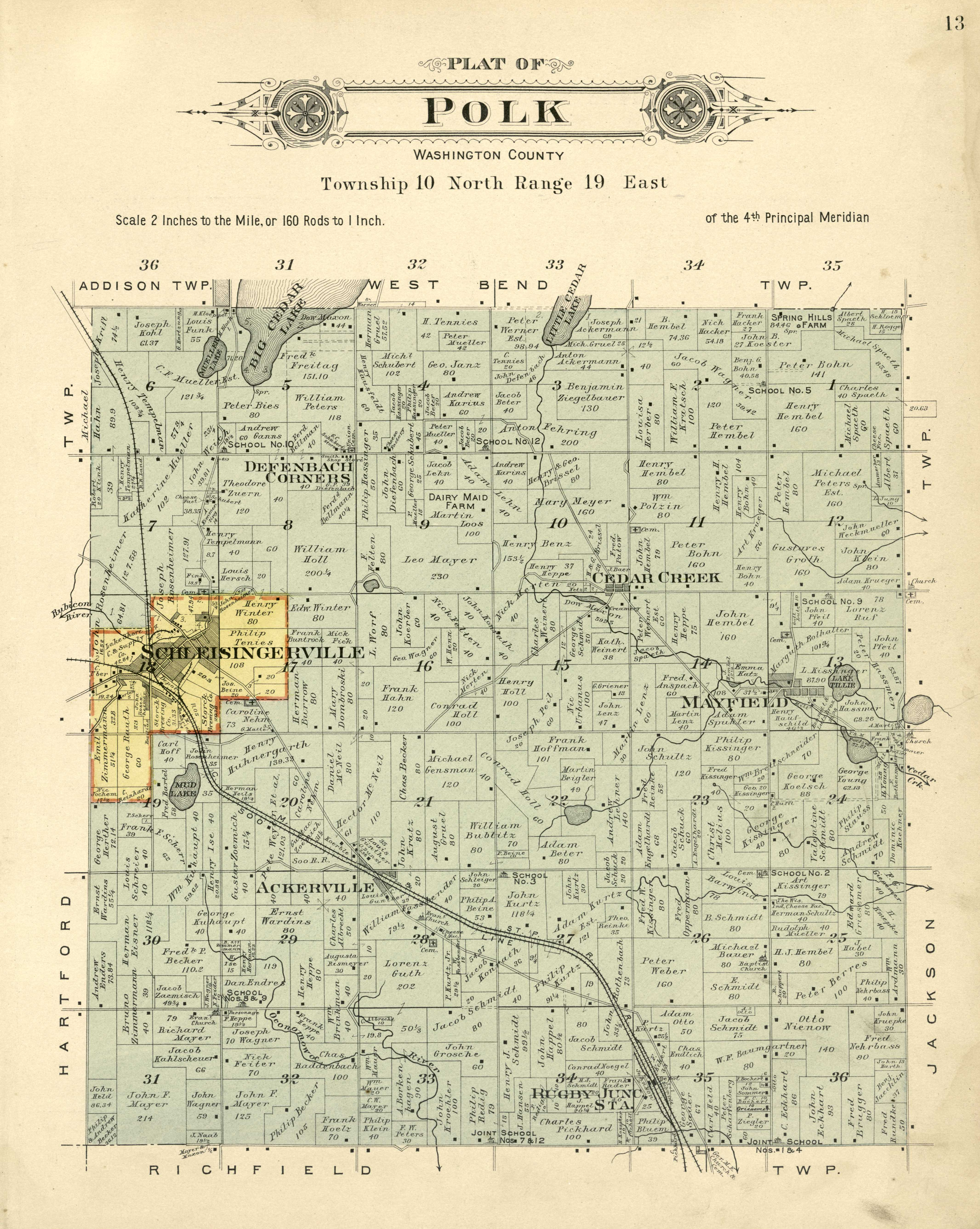 <table class=&quot;lightbox&quot;><tr><td colspan=2 class=&quot;lightbox-title&quot;>Town of Polk Plat Map</td></tr><tr><td colspan=2 class=&quot;lightbox-caption&quot;>This 1915 plat map of the Town of Polk highlights how waterways and railroads shaped its settlement and development.</td></tr><tr><td colspan=2 class=&quot;lightbox-spacer&quot;></td></tr><tr class=&quot;lightbox-detail&quot;><td class=&quot;cell-title&quot;>Source: </td><td class=&quot;cell-value&quot;>From the Library of Congress Geography and Map Division. <br /><a href=&quot;https://www.loc.gov/resource/g4123wm.gla00199/?sp=12&r=-0.867,0.013,2.734,1.161,0&quot; target=&quot;_blank&quot;>Library of Congress</a></td></tr><tr class=&quot;filler-row&quot;><td colspan=2>&nbsp;</td></tr></table>