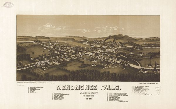 A view of Menomonee Falls in 1886, highlighting its industrial operations, churches, and both wild and planted trees.