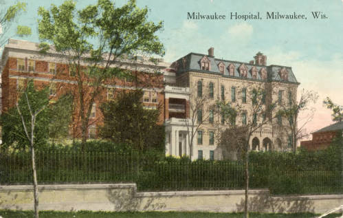<table class=&quot;lightbox&quot;><tr><td colspan=2 class=&quot;lightbox-title&quot;>Milwaukee Hospital</td></tr><tr><td colspan=2 class=&quot;lightbox-caption&quot;>Postcard of Milwaukee Hospital published in 1916. The hospital was founded by Lutheran pastor William Passavant and was first known as Passavant Hospital and then as the Lutheran Hospital. </td></tr><tr><td colspan=2 class=&quot;lightbox-spacer&quot;></td></tr><tr class=&quot;lightbox-detail&quot;><td class=&quot;cell-title&quot;>Source: </td><td class=&quot;cell-value&quot;>Greetings from Milwaukee: Selections from the Thomas and Jean Ross Bliffert Postcard Collection, Archives. University of Wisconsin-Milwaukee Libraries. <br /><a href=&quot;http://collections.lib.uwm.edu/digital/collection/gfmmke/id/127/rec/12&quot; target=&quot;_blank&quot;>University of Wisconsin-Milwaukee Libraries</a></td></tr><tr class=&quot;filler-row&quot;><td colspan=2>&nbsp;</td></tr></table>