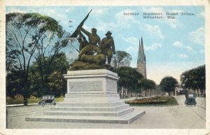 "1922 postcard featuring the Civil War Memorial sculpture titled ""Victorious Charge,"" completed in 1888."