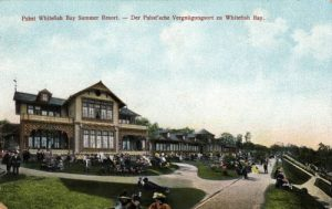 Another early twentieth century postcard view of the Whitefish Bay Resort, with German- and English-language text.