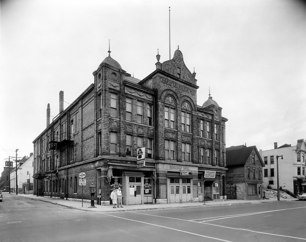 Photograph of Bohemian Hall taken in June 1960. Opened in 1895 on the corner of 12th and Vine Streets, the hall served as a popular cultural gathering space for Milwaukee's Czech community.