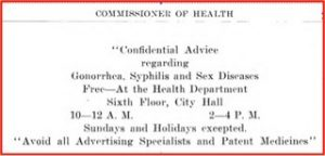 """In 1916 Milwaukee Health Department inspectors posted this notice in factory toilets and public toilets to offer """"advice"""" on treating or avoiding sexually transmitted diseases."""