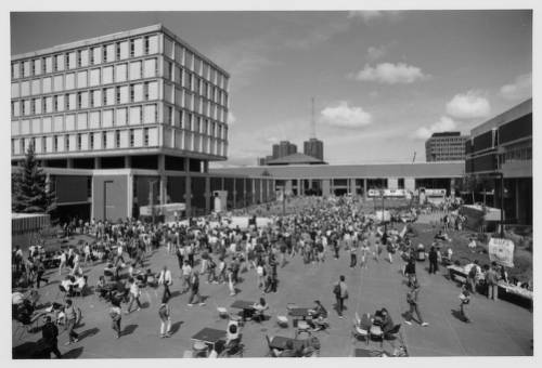 <table class=&quot;lightbox&quot;><tr><td colspan=2 class=&quot;lightbox-title&quot;>UWM Plaza</td></tr><tr><td colspan=2 class=&quot;lightbox-caption&quot;>Students gather on UWM's plaza for a party in September 1985. Bolton Hall is on the left, Golda Meir Library center background, and the Fine Arts Center is on the right. </td></tr><tr><td colspan=2 class=&quot;lightbox-spacer&quot;></td></tr><tr class=&quot;lightbox-detail&quot;><td class=&quot;cell-title&quot;>Source: </td><td class=&quot;cell-value&quot;>From the UW-Milwaukee Photographs Collection. Archives, University of Wisconsin-Milwaukee.<br /><a href=&quot;http://collections.lib.uwm.edu/digital/collection/uwmphoto/id/342/rec/351&quot; target=&quot;_blank&quot;>University of Wisconsin-Milwaukee Libraries </a></td></tr><tr class=&quot;filler-row&quot;><td colspan=2>&nbsp;</td></tr></table>