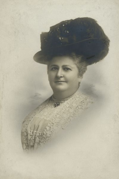 "Studio portrait of Lizzie Black Kander, forerunner of the settlement movement in Milwaukee and author of the wildly successful ""The Settlement Cook Book."""