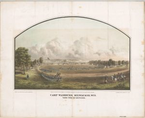 Illustration of Camp Washburn, a military training camp in Milwaukee during the Civil War.
