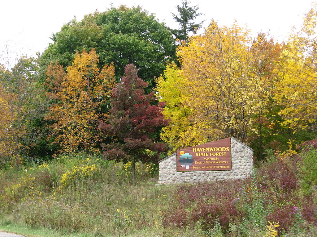 <table class=&quot;lightbox&quot;><tr><td colspan=2 class=&quot;lightbox-title&quot;>Havenwoods State Forest</td></tr><tr><td colspan=2 class=&quot;lightbox-caption&quot;>Photograph of the entry sign to Milwaukee's Havenwoods State Forest in autumn. </td></tr><tr><td colspan=2 class=&quot;lightbox-spacer&quot;></td></tr><tr class=&quot;lightbox-detail&quot;><td class=&quot;cell-title&quot;>Source: </td><td class=&quot;cell-value&quot;>From the Wikimedia Commons. <br /><a href=&quot;https://commons.wikimedia.org/wiki/File:2008_entrance_sign5.jpg&quot; target=&quot;_blank&quot;>Wikimedia Commons</a></td></tr><tr class=&quot;filler-row&quot;><td colspan=2>&nbsp;</td></tr></table>