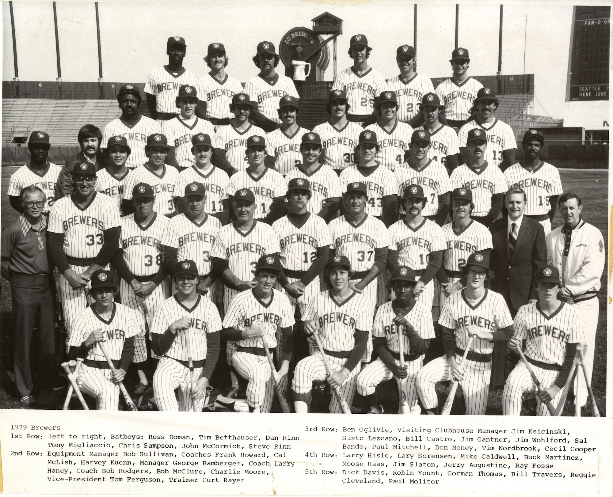 <table class=&quot;lightbox&quot;><tr><td colspan=2 class=&quot;lightbox-title&quot;>1979 Milwaukee Brewers</td></tr><tr><td colspan=2 class=&quot;lightbox-caption&quot;>Team photograph of the 1979 Milwaukee Brewers. During this season they accumulated 95 wins, 66 losses, and finished second in the American League East. </td></tr><tr><td colspan=2 class=&quot;lightbox-spacer&quot;></td></tr><tr class=&quot;lightbox-detail&quot;><td class=&quot;cell-title&quot;>Source: </td><td class=&quot;cell-value&quot;>From the Milwaukee County  Historical Society.<br /><a href=&quot;https://milwaukeehistory.net/research/photographic-collections/&quot; target=&quot;_blank&quot;>Milwaukee County Historical Society</a></td></tr><tr class=&quot;filler-row&quot;><td colspan=2>&nbsp;</td></tr></table>