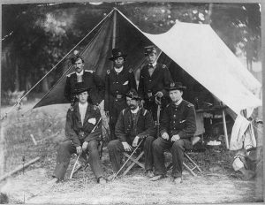 1862 photograph of Lt. Rufus King with fellow artillery officers taken in Antietam, Maryland. King, a Milwaukee newspaper editor and politician, would later rise to the rank of general.