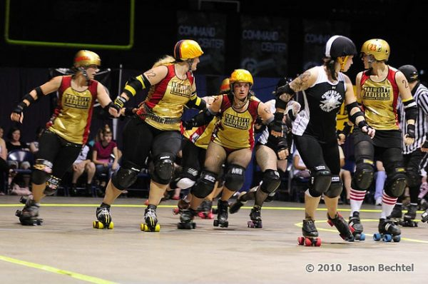 Milwaukee's women's roller derby team, the BrewCity Bruisers, competes against the Cincinnati Rollergirls Black Sheep in 2010.