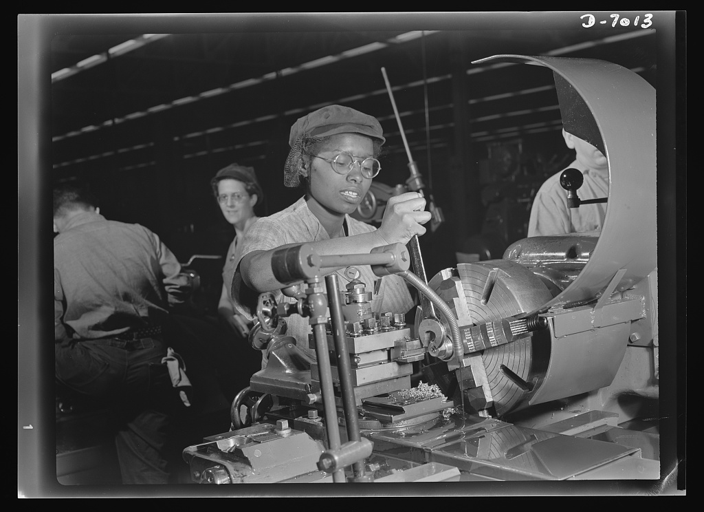 <table class=&quot;lightbox&quot;><tr><td colspan=2 class=&quot;lightbox-title&quot;>Women in War Work</td></tr><tr><td colspan=2 class=&quot;lightbox-caption&quot;>A 20-year-old woman named Annie Tabor works in a Milwaukee supercharger plant in 1942. Superchargers were commonly used in aircraft engines during World War II.</td></tr><tr><td colspan=2 class=&quot;lightbox-spacer&quot;></td></tr><tr class=&quot;lightbox-detail&quot;><td class=&quot;cell-title&quot;>Source: </td><td class=&quot;cell-value&quot;>From the Library of Congress Farm Security Administration - Office of War Information Photograph Collection.</td></tr><tr class=&quot;filler-row&quot;><td colspan=2>&nbsp;</td></tr></table>
