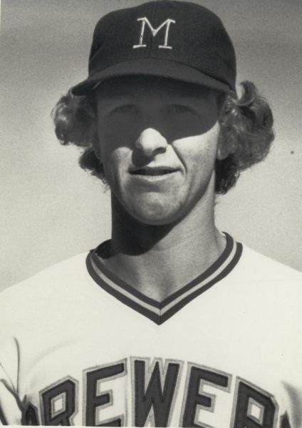 Photograph of Robin Yount early on in his storied twenty-year career with the Milwaukee Brewers.