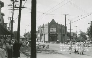 Overhead power lines were installed at the intersection of Port Washington and Green Bay avenues in 1950.