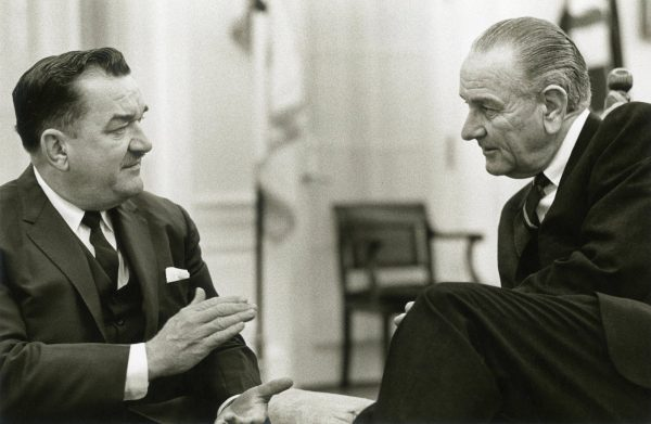 Representative Zablocki speaks with President Lyndon B. Johnson at the White House in this photograph from April 1968.
