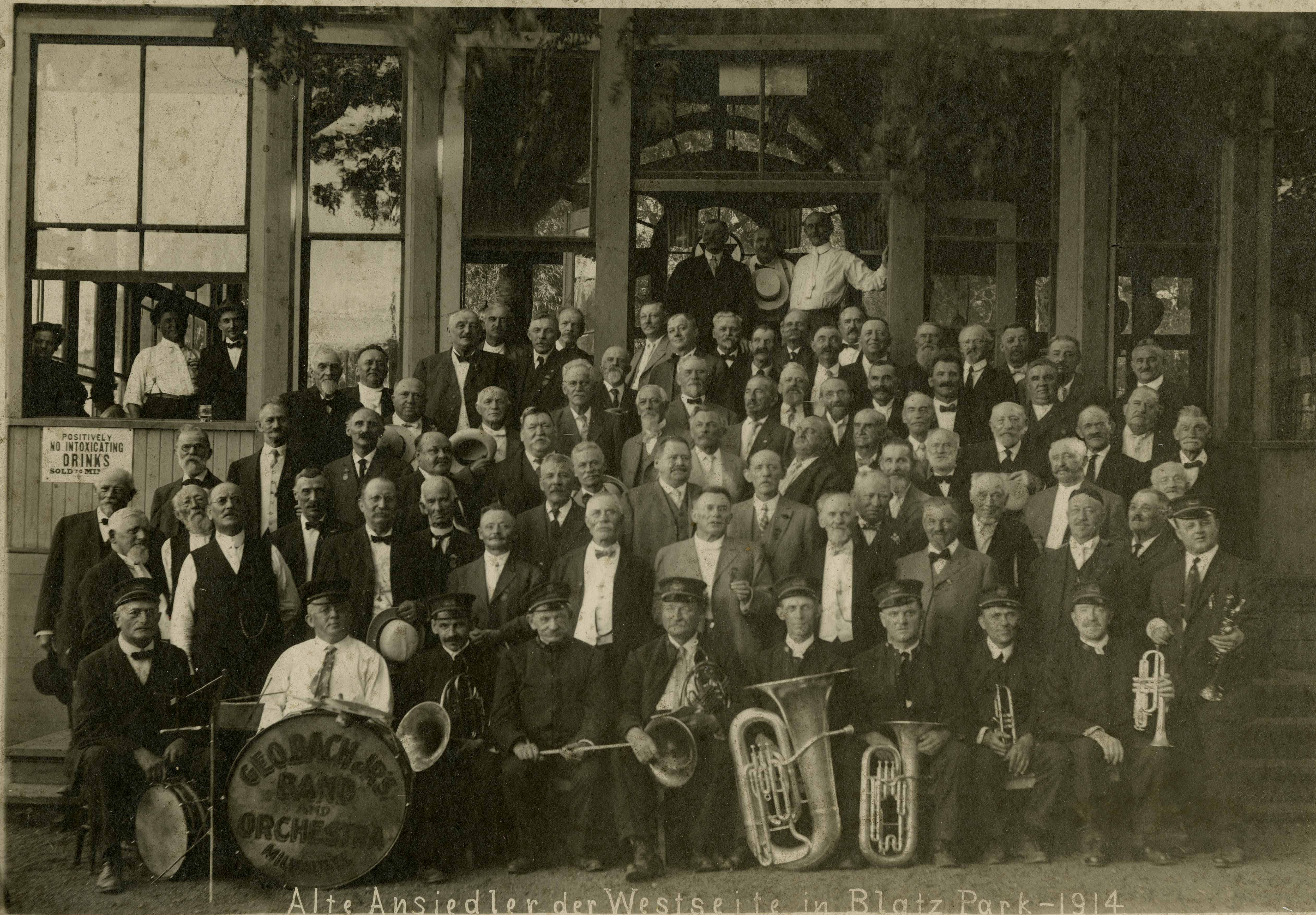 <table class=&quot;lightbox&quot;><tr><td colspan=2 class=&quot;lightbox-title&quot;>George Bach Jr.'s Band and Orchestra</td></tr><tr><td colspan=2 class=&quot;lightbox-caption&quot;>Photograph of a German community band and orchestra in Blatz Park in 1914. </td></tr><tr><td colspan=2 class=&quot;lightbox-spacer&quot;></td></tr><tr class=&quot;lightbox-detail&quot;><td class=&quot;cell-title&quot;>Source: </td><td class=&quot;cell-value&quot;>From the Historic Photo Collection of the Milwaukee Public Library. Reprinted with permission.<br /><a href=&quot;http://content.mpl.org/cdm/singleitem/collection/HstoricPho/id/5167/rec/3&quot; target=&quot;_blank&quot;>Milwaukee Public Library</a></td></tr><tr class=&quot;filler-row&quot;><td colspan=2>&nbsp;</td></tr></table>