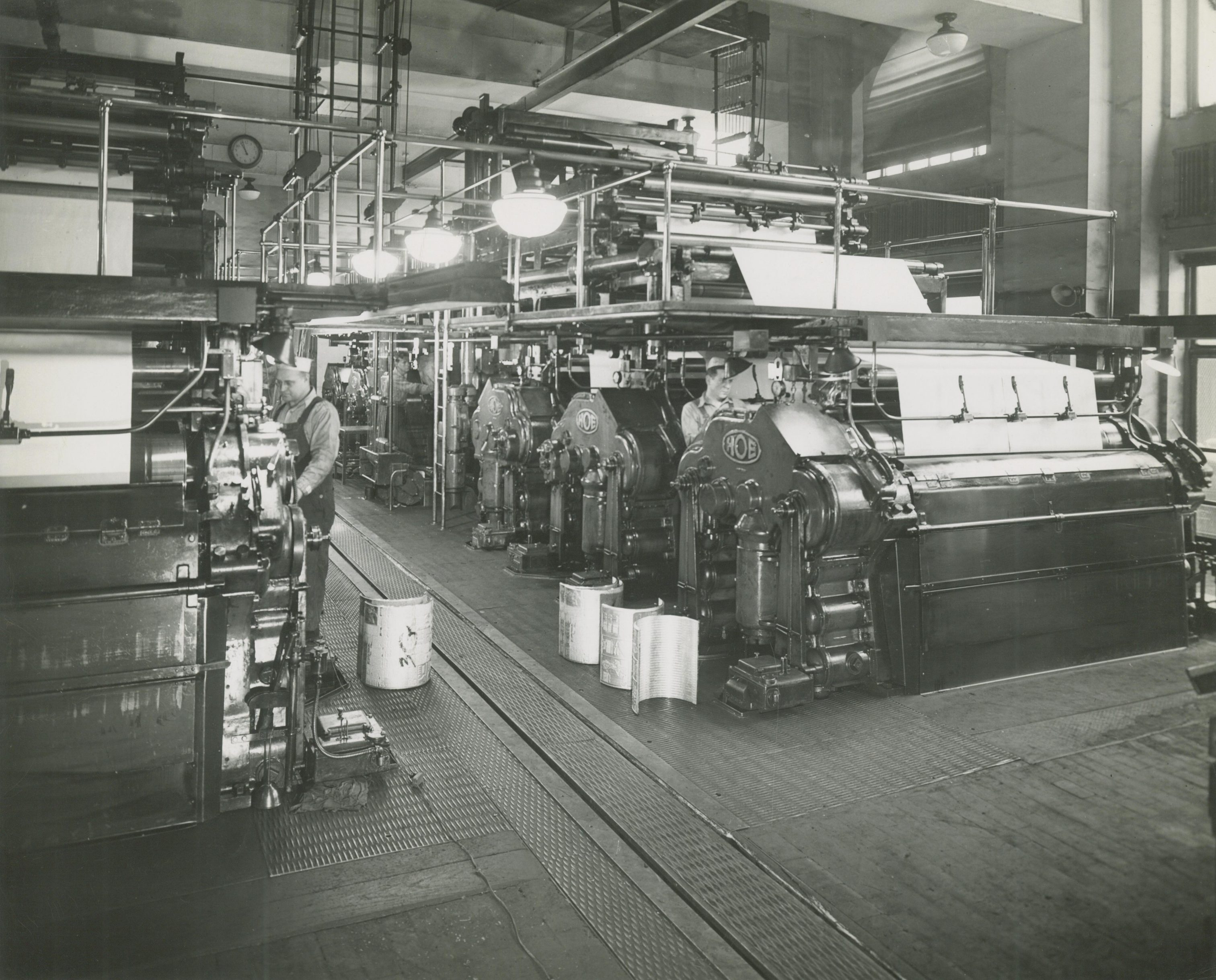 Workers running the presses at the Milwaukee Journal in this 1947 photograph.