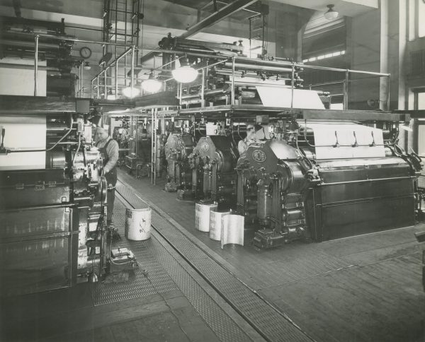 Workers running presses at Milwaukee Journal in this 1947 photograph.