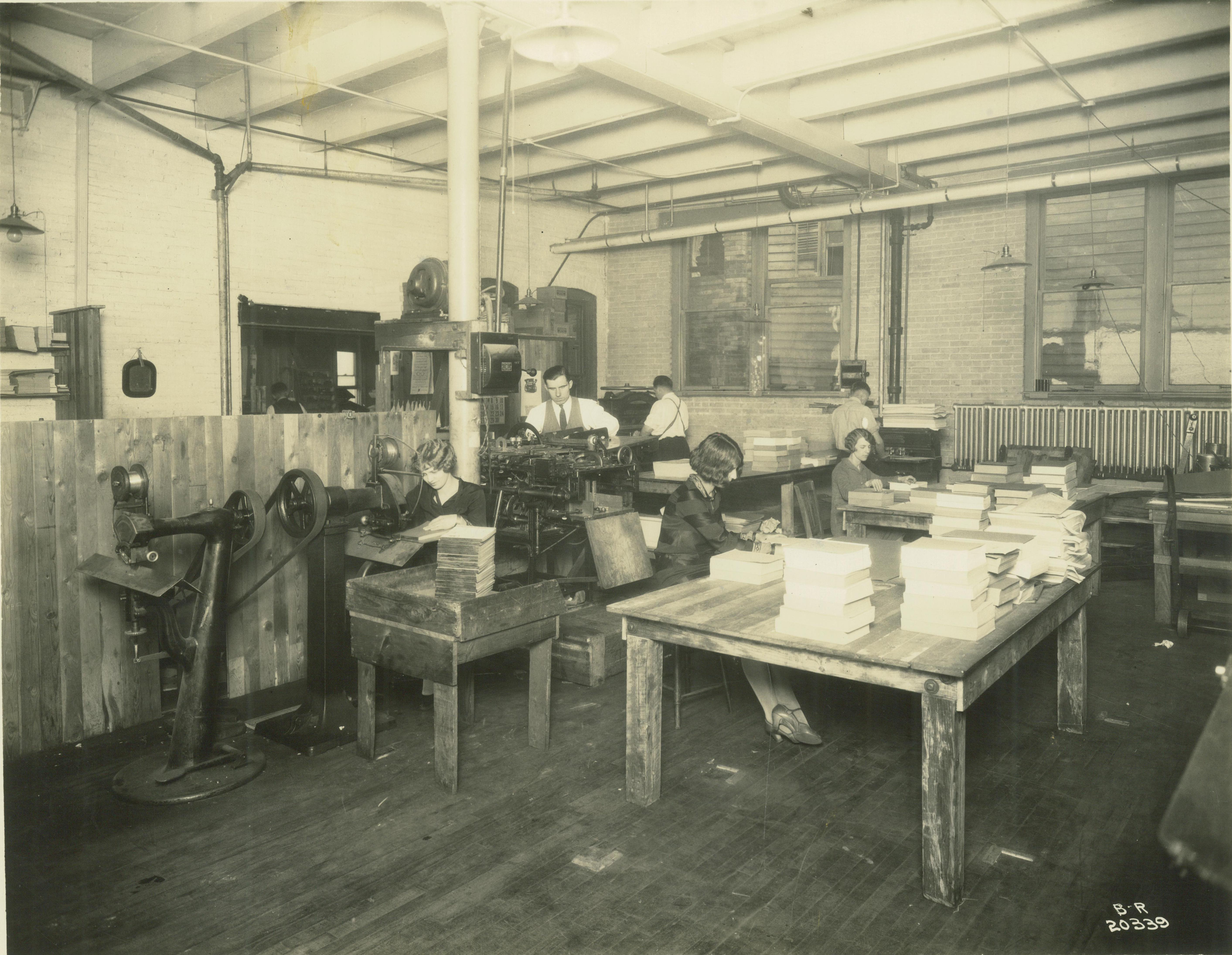 <table class=&quot;lightbox&quot;><tr><td colspan=2 class=&quot;lightbox-title&quot;>Krueger Printing Co. Book Binding</td></tr><tr><td colspan=2 class=&quot;lightbox-caption&quot;>A small group of men and women work to bind books for the Krueger Printing Company in the early part of the twentieth century. </td></tr><tr><td colspan=2 class=&quot;lightbox-spacer&quot;></td></tr><tr class=&quot;lightbox-detail&quot;><td class=&quot;cell-title&quot;>Source: </td><td class=&quot;cell-value&quot;>From the Historic Photo Collection of the Milwaukee Public Library. Reprinted with permission. <br /><a href=&quot;http://content.mpl.org/cdm/singleitem/collection/HstoricPho/id/4084/rec/9&quot; target=&quot;_blank&quot;>Milwaukee Public Library</a></td></tr><tr class=&quot;filler-row&quot;><td colspan=2>&nbsp;</td></tr></table>