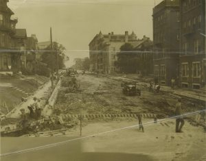 The roadbed on East Juneau Avenue under construction in the 1920s.