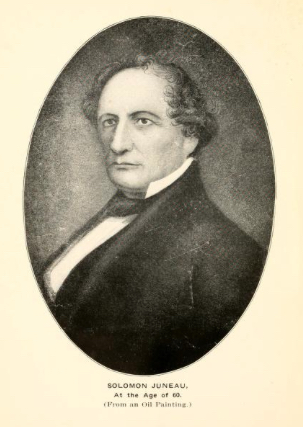Portrait of Milwaukee founder Solomon Juneau at age 60, originally from an oil painting.