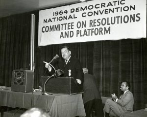 Representative Zablocki addresses the Committee on Resolutions and Platform at the 1964 Democratic National Convention in Chicago.