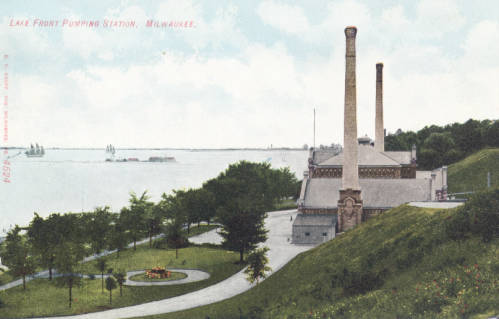 <table class=&quot;lightbox&quot;><tr><td colspan=2 class=&quot;lightbox-title&quot;>Lake Front Pumping Station</td></tr><tr><td colspan=2 class=&quot;lightbox-caption&quot;>Milwaukee's lakefront pumping station was converted to a coffee shop in the 21st century.</td></tr><tr><td colspan=2 class=&quot;lightbox-spacer&quot;></td></tr><tr class=&quot;lightbox-detail&quot;><td class=&quot;cell-title&quot;>Source: </td><td class=&quot;cell-value&quot;>Greetings from Milwaukee: Selections from the Thomas and Jean Ross Bliffert Postcard Collection, Archives. University of Wisconsin-Milwaukee Libraries. <br /><a href=&quot;https://collections.lib.uwm.edu/digital/collection/gfmmke/id/152/rec/1&quot; target=&quot;_blank&quot;>University of Wisconsin-Milwaukee Libraries</a></td></tr><tr class=&quot;filler-row&quot;><td colspan=2>&nbsp;</td></tr></table>