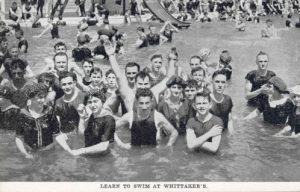 A large group of people are pictured swimming in the Milwaukee River as part of Whittaker's Swimming School.