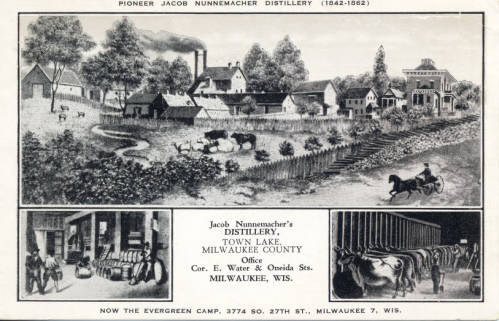 Jacob Nunnemacher's farm and distillery were located on the far western edge of the Town of Lake, on the east side of what became 27th Street, just north of Howard Avenue.