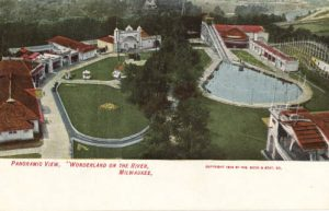 Postcard from 1906 featuring a panoramic view of the amusement park once located on the Milwaukee River in present-day Shorewood.