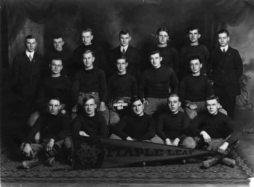 Group photograph of the Maple Leaf amateur football team, champions of the 1914 Milwaukee League.