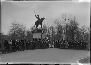 Women representing the Polish Women's Alliance of America stand in front of Milwaukee's Kosciuszko Monument in Kosciuszko Park in 1923.