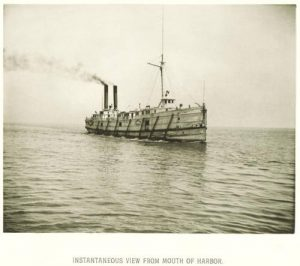 Photograph of a Union Steamboat Company vessel in Milwaukee Harbor, circa 1885.