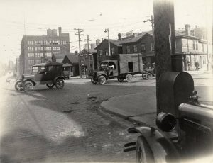 Potholes were a chronic problem on Milwaukee's roads and streets, as seen at the intersection of North 5th and Clybourn Street in 1925.