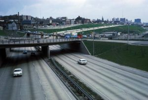 A view of the I-94 Expressway from the N. 27th Street viaduct in 1966.