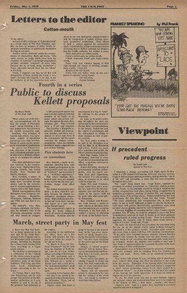 "This issue of the UWM Post from 1970 features an announcement for an upcoming march and festival  in support of ""workers of the world who are trying to overthrow Amerikan imperialism."""