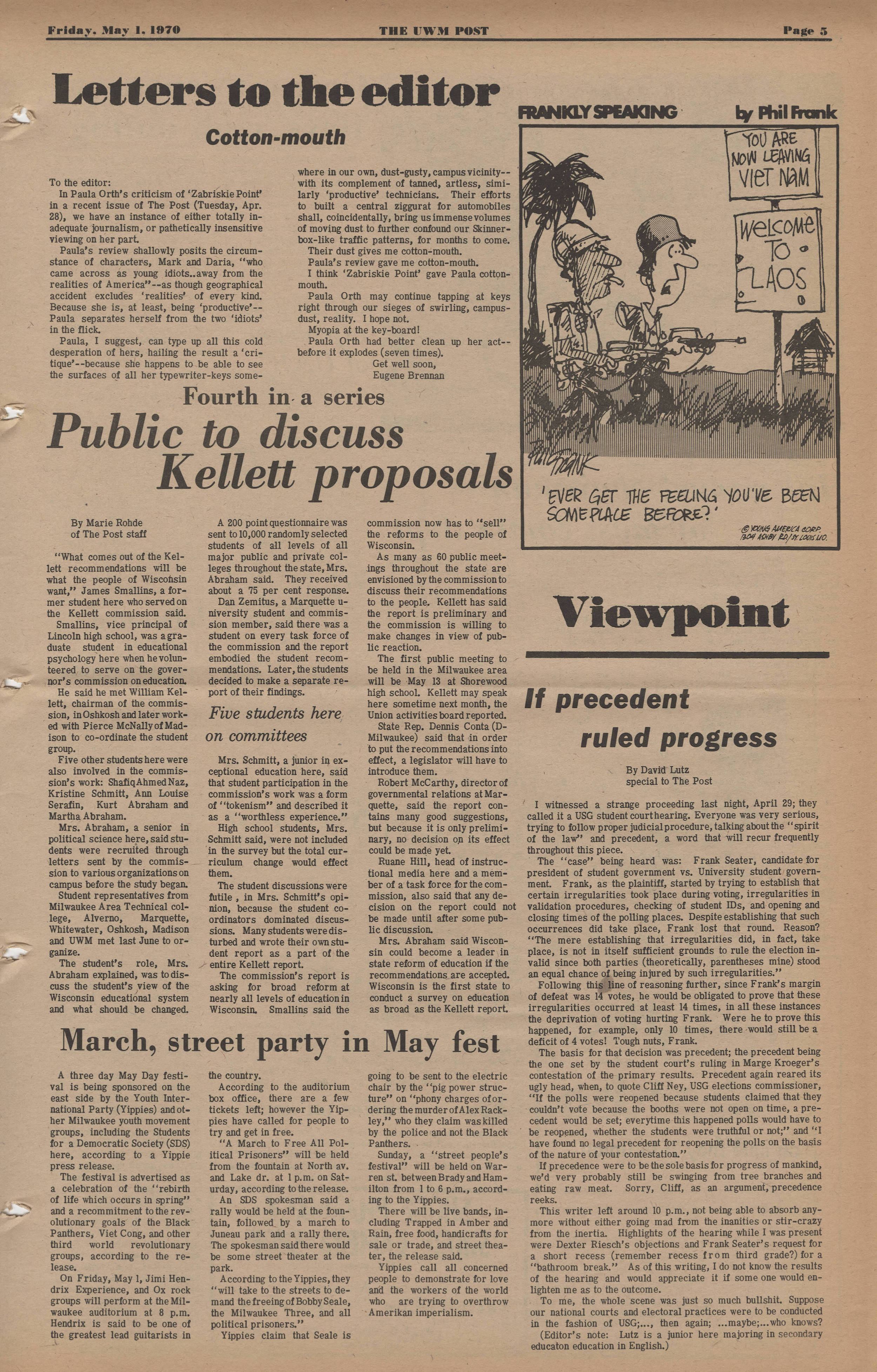 <table class=&quot;lightbox&quot;><tr><td colspan=2 class=&quot;lightbox-title&quot;>Counterculture May Fest</td></tr><tr><td colspan=2 class=&quot;lightbox-caption&quot;>This issue of the UWM Post from 1970 features an announcement for an upcoming march and festival  in support of &quot;workers of the world who are trying to overthrow Amerikan imperialism.&quot; </td></tr><tr><td colspan=2 class=&quot;lightbox-spacer&quot;></td></tr><tr class=&quot;lightbox-detail&quot;><td class=&quot;cell-title&quot;>Source: </td><td class=&quot;cell-value&quot;>From the UWM Post Newspaper 1956-2012 Collection, Archives. University of Wisconsin-Milwaukee Libraries.<br /><a href=&quot;https://collections.lib.uwm.edu/digital/collection/uwmpost/id/1565/rec/1  &quot; target=&quot;_blank&quot;>University of Wisconsin-Milwaukee Libraries</a></td></tr><tr class=&quot;filler-row&quot;><td colspan=2>&nbsp;</td></tr></table>