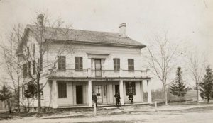 An 1884 photograph of the inn Nelson Hawks built in Delafield in 1846. Listed on the National Register of Historic Sites, the building is now used as a historical museum.