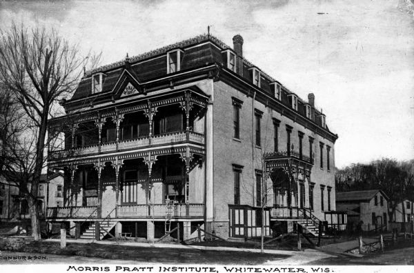 This 1889 photograph features the Morris Pratt Institute, the only Spiritualist college in the United States, at its original location in Whitewater. The institute still exists today and is now located in Wauwatosa.